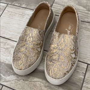 White/gold free people slip on sneakers 6